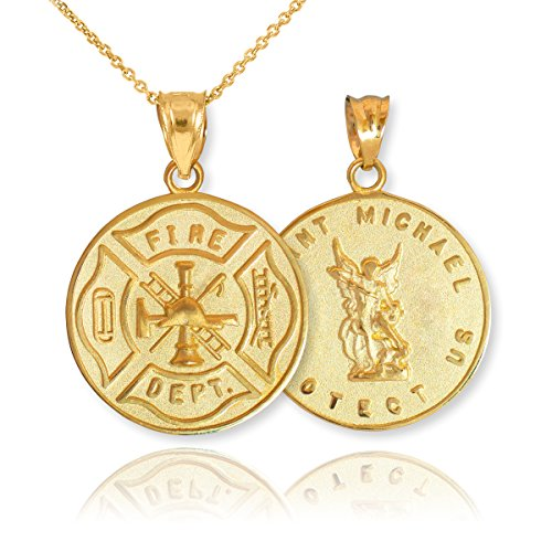 - 10k Yellow Gold Fireman Protection Shield Medal of St Michael Firefighter Pendant Necklace, 20