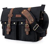 Kattee Leather Canvas Camera Bag Vintage DSLR SLR...