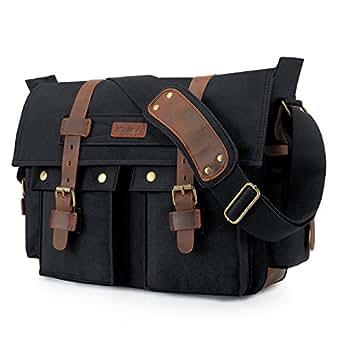 Kattee Leather Canvas Camera Bag Vintage DSLR SLR Messenger Shoulder Bag Black