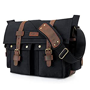 Amazon.com  Kattee Leather Canvas Camera Bag Vintage DSLR SLR ...