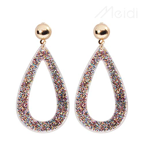 Classic Geometric Dangle Earring Hoop Tear Drop Big Large Loop Exaggerated Earrings Alloy Earrings Shiny Polish Women Engagement Party Earring Jewelry (multicolored)