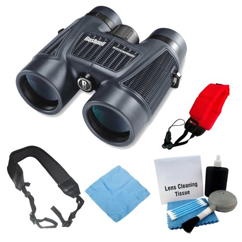 Bushnell H20 WP 10X42 Black Binoculars RP BAK-4 WP/FP Twist Up Eyecups + Strap