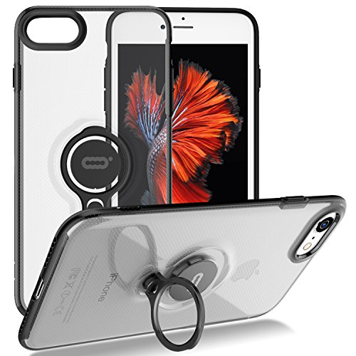 iPhone 8 Case/iPhone 7 Crystal Case with Ring Holder Kickstand Function, 360 Degree Rotating Ring Holder Grip Case Ultra Slim Thin Hard Cover for iPhone 8 / iPhone 7 (4.7inch) (Clear)