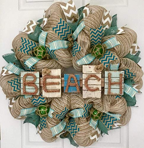 Weathered Driftwood Beach Wreath with Nautical Balls Handmade Deco - Ocean Sign Nautical Weathered