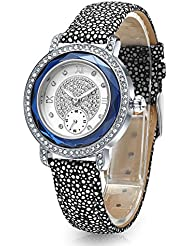 Time100 Women Leather Band Buckle Button Watch Fashion Diamond Alloy Plating Case Watches for Ladies (Blue2)