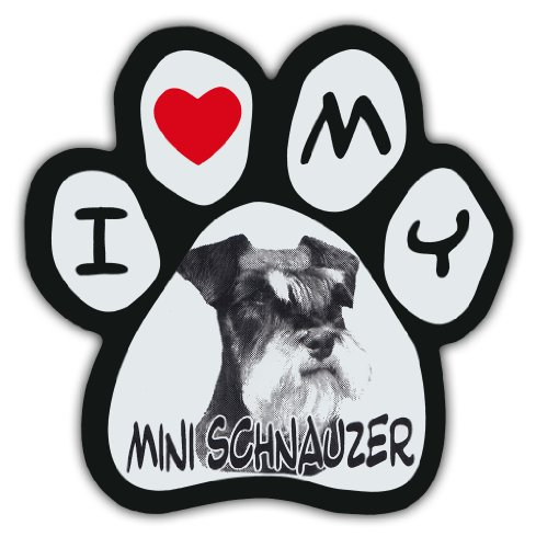 - Picture Paws | Dog Paw Shaped Magnets: I LOVE MY MINI SCHNAUZER | Car Magnet