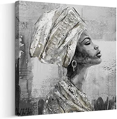 Crescent Art Framed African American Black Art Dancing Black Women in Dress Wall Art Painting on Canvas Pirnt Wall Picture for Home Accent Living Room Wall Decor 24 x 24 inch, Q