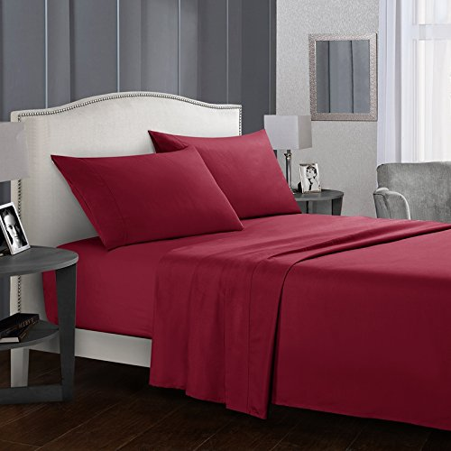 Rongde 4 Pieces Bed Sheets Set,1800 Thread Count Full Size Solid Coloe Bedding Sheet Sets Deep Pockets Wrinkle Fade, Stain Free, Exact Soft and Comfort Wine Red Full ()