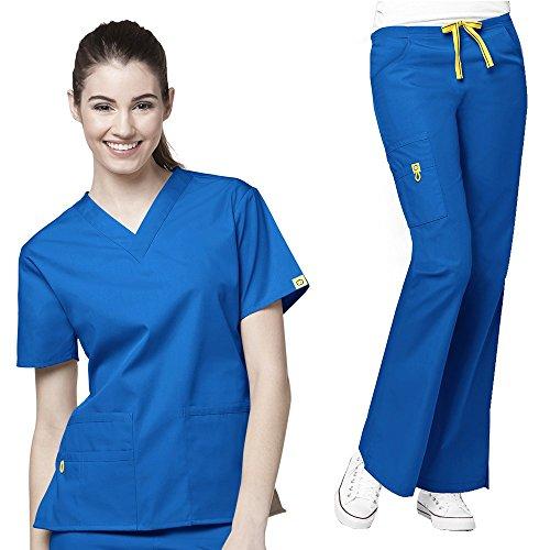 [WonderWink Origins Women's 6016 Bravo Top & 5026 Romeo Pant Medical Uniform Scrub Set (Royal -] (Cute Uniform Outfits)