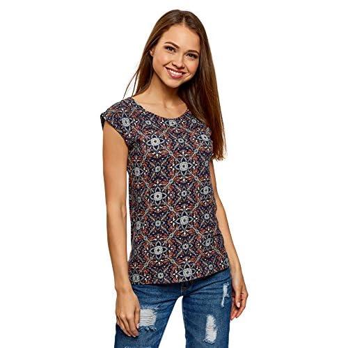 038fea832963 oodji Collection Damen T-Shirt mit Druck Blau 7931e OMSeJEXn 70%OFF ...