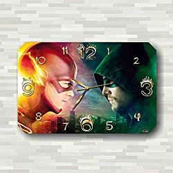 Art time production Flash vs. Arrow 17 x 11 Handmade Wall Clock - Get unique décor for home or office – Best gift ideas for kids, friends, parents and your soul mates