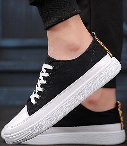 Satuki Zapatos De Lona Para Hombres, Zapatillas De Moda, Casual Cordones Suaves Y Ligeros Zapatos Deportivos Atléticos Negro