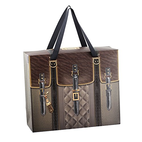 Pack of 12 Large Brown Treasure Chest Paper Party Favor Gift Bags With Handles