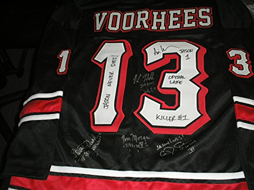 5 JASONS Signed Jason Voorhees Hockey JERSEY Friday the 13th Kane Hodder + Dash Lehman Graham Morga]()
