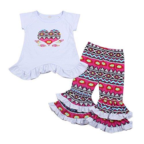 - Yawoo Haan Kids Girls 2PCS Summer Ruffle Pants Set Baby Boutique Outfits 6-7T