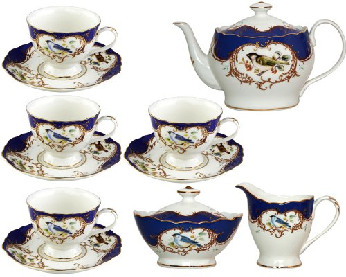 Sweet Tea Border Collection (Gracie China 11-Piece Fine Porcelain Tea Set, Sweet Finch with Royal Blue Border)