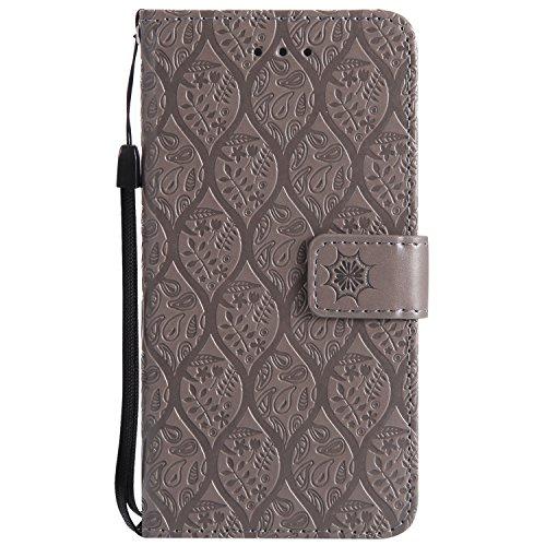 Pelle Pu Wallet Goffratura Grigio Libro Goffratura 6s Con Super Cover Fiore Apple 6s Disegno Per Iphone Portafoglio Custodia Arts Jawseu 6 Leather 6 qZBaw1O