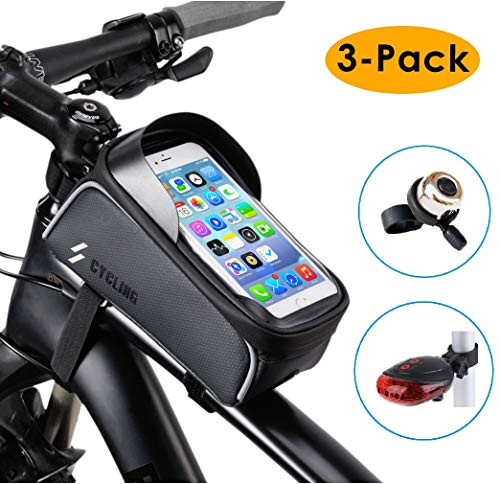 Why Choose 3-Pack Bike Frame Bag Tail Light Bicycle Bell Set, Waterproof Mountain Road Cycling Front Top Tube Touchscreen Sun Visor Storage Pouch Bag Phone Holder Stand, for iPhone Samsung and other Smartphone