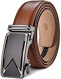 Fire Kirin Men's Belts Leather Ratchet Dress Belt with Automatic Buckle Gift Box