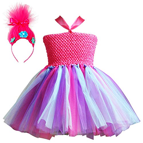Trolls Costumes Little Girls Princess Poppy Cosplay Birthday Halloween Toddler Kids Fancy Baby Tutu Dresses with Headband Rose Red -