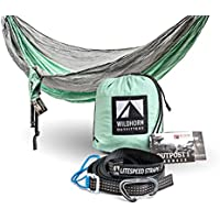 WildHorn Outfitters Outpost Double/Single Camping Hammock (Siver/Lime Green)
