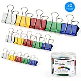 Tdbest Binder Clips Paper Clamp Assorted Sizes Metal Paper Clips Per Tub Perfect for Home, School, Office (30Pcs, Colored)