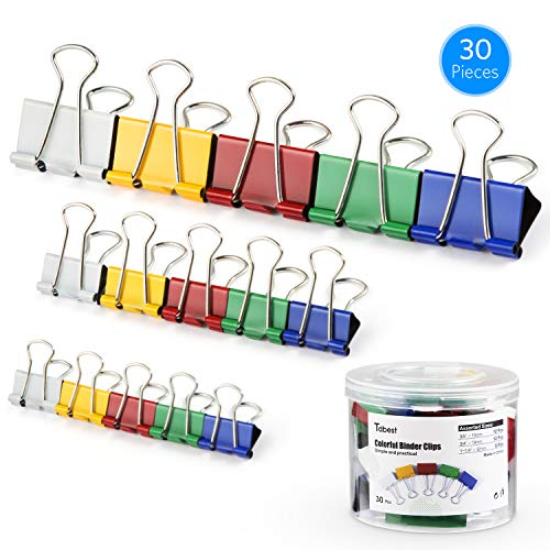 Tdbest Binder Clips Paper Clamp Assorted Sizes Metal Paper Clips Per Tub Perfect for Home, School, Office (30Pcs, ()