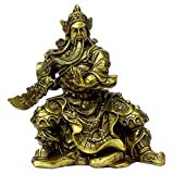 Chinese Handicrafts Handmade Brass Guangong / Guanyu with Broadsword Golden Finish Collectible Figurines Decoration Gift