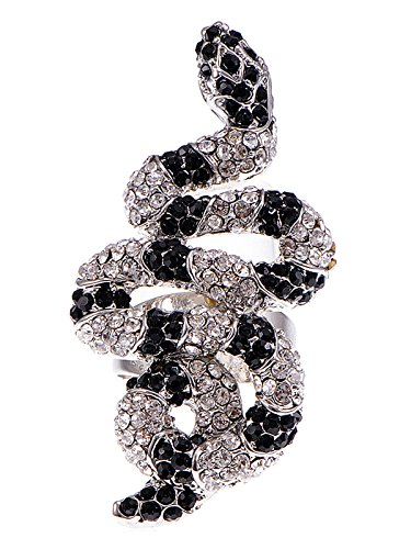 Alilang Womens Adjustable Silver Tone Clear Black Rhinestones Striped Snake -