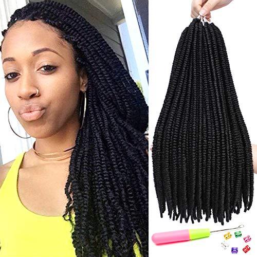 7 Packs 20 Inch Nubian Twist Hair Spring Twist Hair Ombre Senegalese Twist Crochet Braids Faux Locs Synthetic Braiding Hair (20 inch,1B)