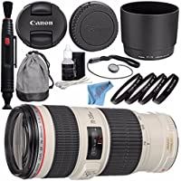 Canon EF 70-200mm f/4L IS USM Lens 1258B002 + 67mm Macro Close Up Kit + Lens Pen Cleaner + Fibercloth + Deluxe Cleaning Kit Bundle
