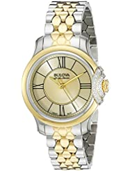 Bulova Accu Swiss Womens 65R159 Diamond Two Tone Watch
