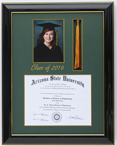 SQ-Diploma 8x6 Tassel 5x7 Black/Gree 2016 (Customizable)