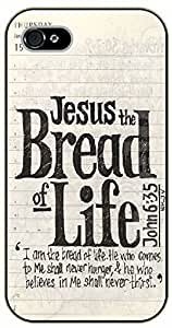 iPhone 5C Bible Verse - Jesus bread of life. John 6:35 - black plastic case / Verses, Inspirational and Motivational