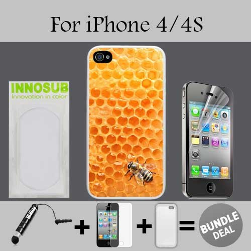 Bumble Bee Honeycomb Custom iPhone 4 Cases/4S Cases-Clear-Rubber,Bundle - Bumblebee Iphone 4 Case
