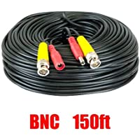 150 feet Pre-made All-in-One BNC Video and Power Cable with Connector for Surveillance CCTV Security Camera Video System, Black