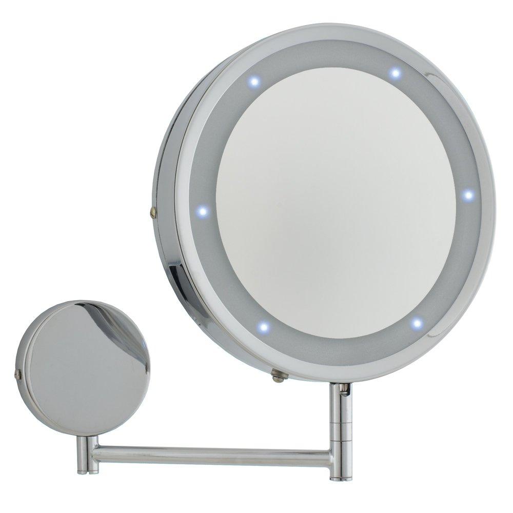 Modern Round Chrome LED Battery Operated Magnifying Bathroom Make Up Shaving Wall Mirror Light Amazoncouk Lighting