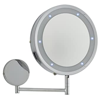 modern round chrome led battery operated magnifying bathroom make up shaving wall mirror light