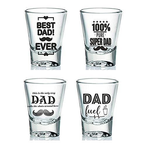 EK DO DHAI Glass Shot Glasses   Set Of 4, Multicolour, 60Ml