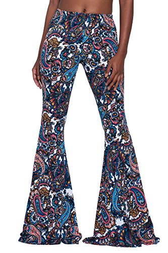 Herose Ladies 2017 Winter Vintage Navy Blue Paisley Print Bell-bottoms Leggings XL for $<!--$18.99-->