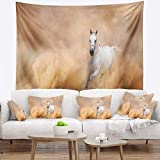 Designart TAP6469-80-68 'Arabian Horse in Desert Storm' Photography Tapestry Blanket Décor Wall Art for Home and Office, x Large: 80 in. x 68 in, Created on Lightweight Polyester Fabric