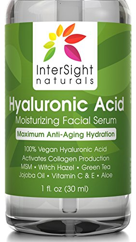 Hyaluronic Acid Serum for Face by InterSight - with Vitamin C & E, MSM, Green Tea, Jojoba Oil, Aloe - 100% Pure - Best Organic & Vegan Anti Aging Moisturizer Liquid - 1000x Hydration - 1 oz.