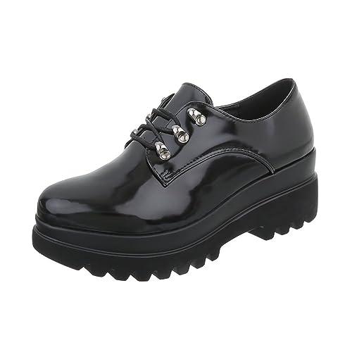 Zapatos para Mujer Mocasines Tacón Ancho Zapatos con Cordones Ital-Design: Amazon.es: Zapatos y complementos