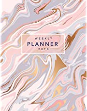 Weekly Planner 2019: Rose Gold Marble | 8.5 x 11 in | Weekly View 2019 Planner Organizer with Dotted Grid Pages + Motivational Quotes + To-Do Lists