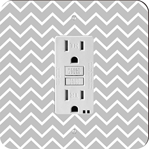 Rikki Knight Grey Chevron Zig Zag Stripes Single GFI Light Switch - Stripe Single Grey