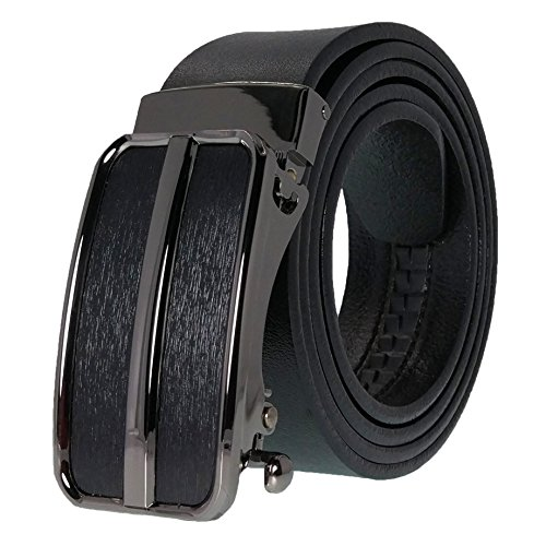 West Leathers Men's Top Grain Leather Belts Solid Buckle Automatic Ratchet Dress Belt Size 36 Style 9