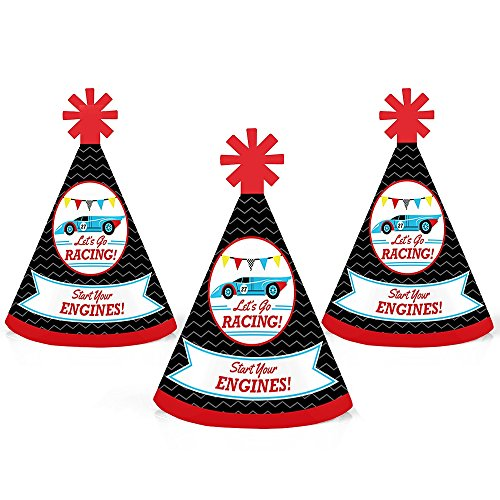 Let's Go Racing - Racecar - Mini Cone Race Car Birthday Party or Baby Shower Hats - Small Little Party Hats - Set of 10 (Engines Gen 3)