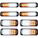 (4pcs 6-LED+ 4pcs 12-LED) White/Amber Flashing Warning Em...