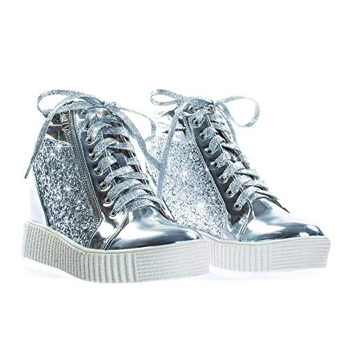 Forever Link Regan-14 Women's Fashion Glitter Lace up Platform Wedge Sneaker Shoes -
