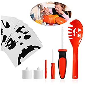 pumpkin carving tools for kids. pbpbox halloween pumpkin carving tools for kids decorations - including 4 tools, 2 led lights and templates n